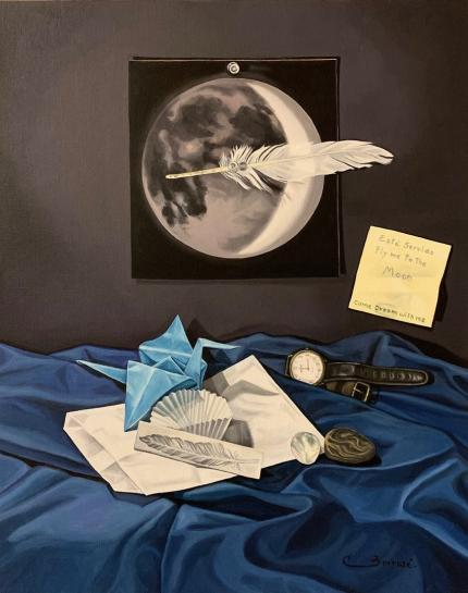 "Carmen Borrasé. ""Fly me to the Moon. Come Dream with me"". De la serie ""Está Servido"". Óleo sobre tela. Colección de la artista, 2020."