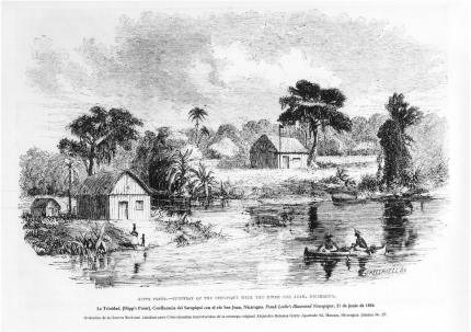 Fotografía: Autor: Harper's Weekly (medio extranjero). Título: La Trinidad. [Hipp's Point]. Confluencia del Sarapiquí con el río San Juan, Nicaragua. Lámina No. 27. Técnica: grabado. Impreso en 1856.
